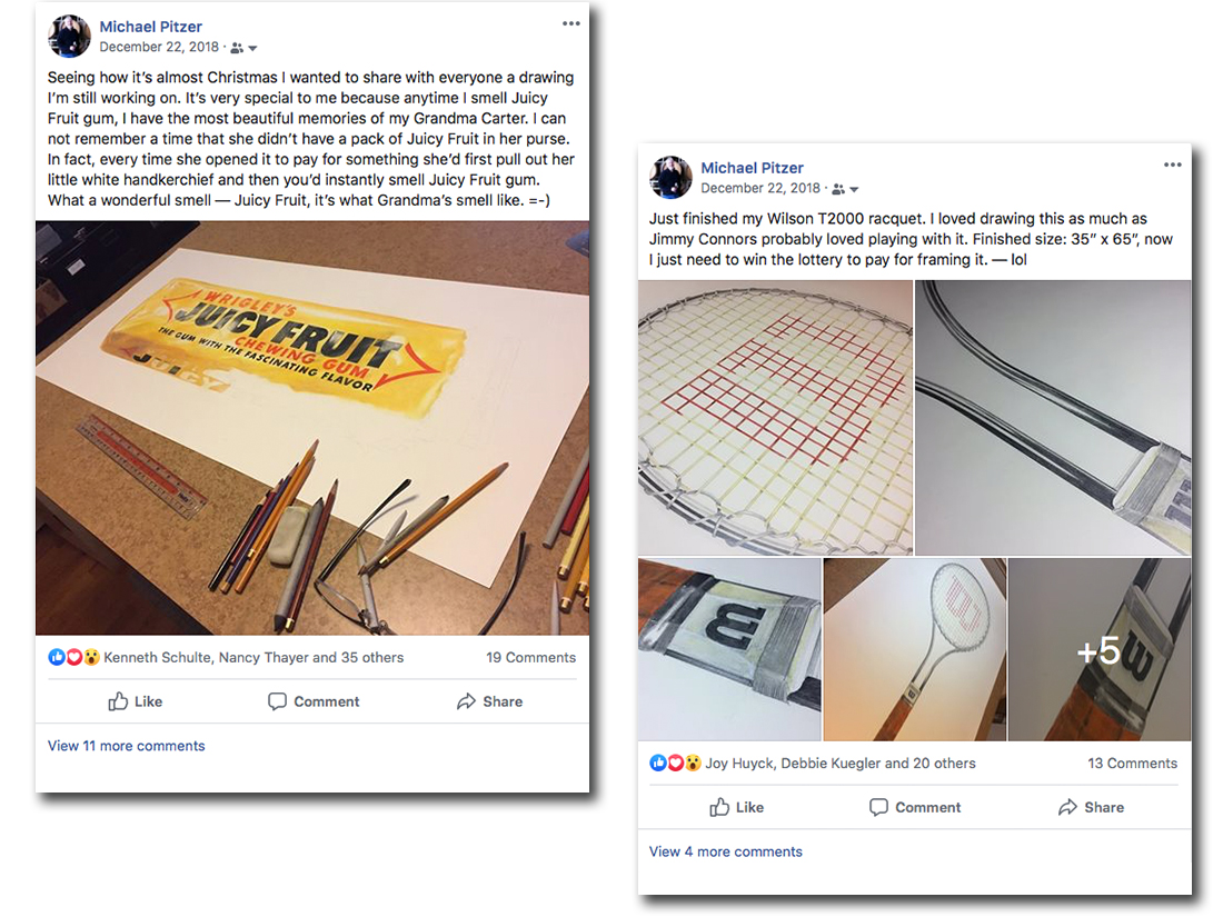 Facebook postings about Michael Pitzer's artwork